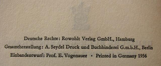 Eine Romaninnenseite vor 1969 ohne ISBN
